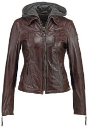 Freaky Nation Leather Jacket Brown Dark Brown