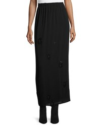 The Row Beaded Georgette Maxi Skirt Black W Dark Navy