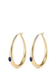 Ela Stone 'Jenny' Stone Shank Hoop Earrings Metallic Blue