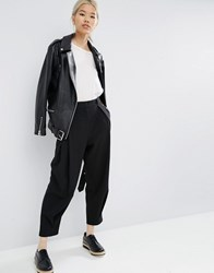 Asos White Pull On Trousers With Pleat Front Black