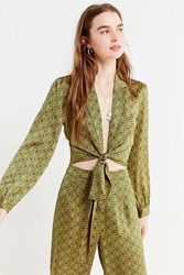 Urban Outfitters Uo Satin Paisley Tie Front Top Green Multi