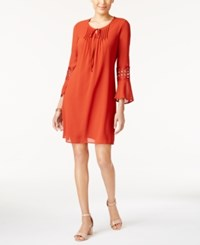 Ny Collection Petite Bell Sleeve Peasant Dress Cinnabar