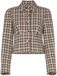 Beaufille Haring Checked Cropped Jacket Neutrals