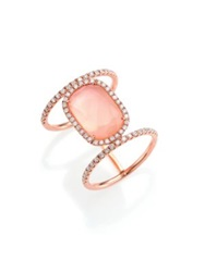Meira T Rose Quartz Mother Of Pearl Diamond And 14K Rose Gold Ring