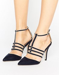 Paper Dolls Navy Cage T Bar Pointed Shoe Navy