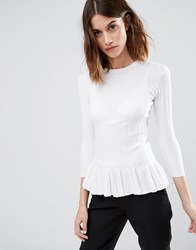 Warehouse Frill Hem Jumper Cream