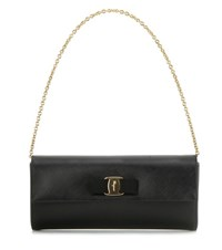 Salvatore Ferragamo Ginny Leather Clutch Black