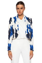 Chloe Chloe Hand Drawn Flowers On Silk Crepe De Chine Jacket In Floral Blue White