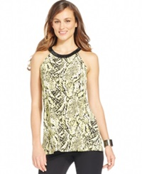 Alfani Snakeskin Print Beaded Halter Top