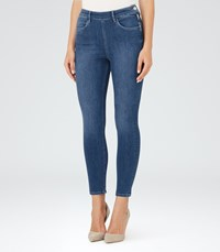 Reiss Hedy Mid Blue Cropped Jeans In Blue Womens