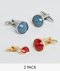Designb Red And Blue Circle Cufflinks In 2 Pack Exclusive To Asos Multi