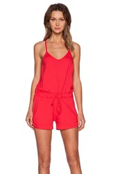 Bobi Supreme Jersey V Neck Romper Red