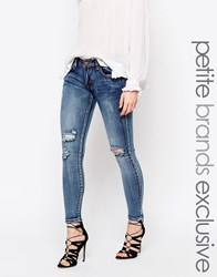 Liquor And Poker Petite Low Rise Knee Rip Detail Super Skinny Jean Blue