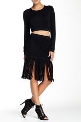 Riller And Fount Fitted Mesh Skirt With Long Fringe Hem Black
