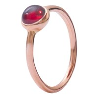 London Road 9Ct Rose Gold Pimlico Bubble Stacking Ring Garnet