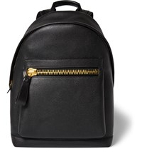 Tom Ford Buckley Full Grain Leather Backpack Black