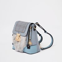 River Island Blue Check Faux Fur Lock Front Backpack
