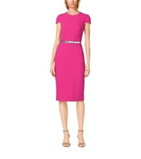 Michael Kors Belted Cotton Crepe Sheath Dress Geranium
