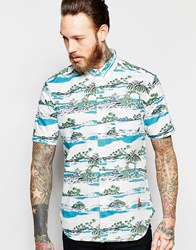 French Connection Short Sleeve Tropical Print Shirt Cream
