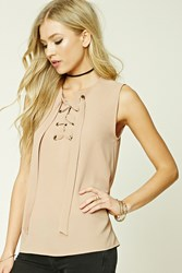 Forever 21 Lace Up Grommet Top