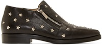Jimmy Choo Black Leather Star Studded Maida Loafers