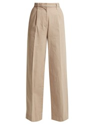 The Row Elin Cotton Denim Trousers Beige