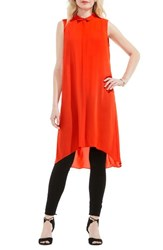 Vince Camuto Women's Long High Low Tunic Red Hot