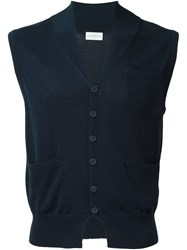 Ballantyne Six Button Knit Vest Blue