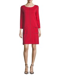 Joan Vass Studded 3 4 Sleeve Shift Dress Red