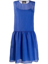 Boutique Moschino Lattice Jacquard Dress Blue