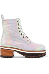 Sies Marjan Jessa Lace Up Iridescent Coated Leather Ankle Boots Silver