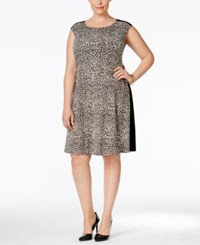 Connected Plus Size Animal Print Colorblocked Dress Brown