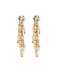 Sequin Tiered Chandelier Earrings With Simulated Pearls Gold