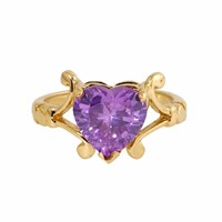Metal Couture Violet Flourish And Heart Split Shank Ring Gold