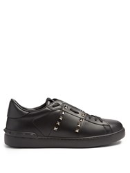 Valentino Rockstud Untitled 11 Low Top Leather Trainers Black