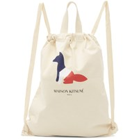Maison Kitsune Off White Resting Fox Tote Backpack