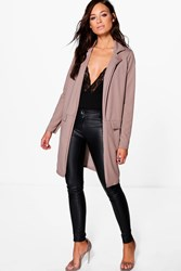 Boohoo Pocket Turn Up Boyfriend Blazer Mocha