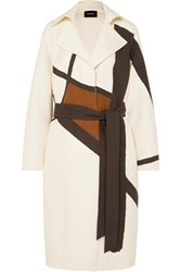 Akris Eevee Printed Cotton Blend Twill Trench Coat Ivory