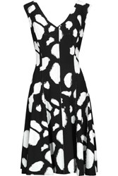 Norma Kamali Grace Reversible Pleated Printed Stretch Jersey Dress Black