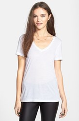 Junior Women's Bp. V Neck Tee White