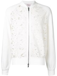 Marna Ro Floral Lace Bomber Jacket White