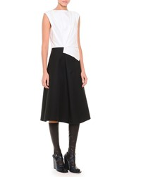 Jil Sander Fold Pleated Colorblock Fit And Flare Dress White Black