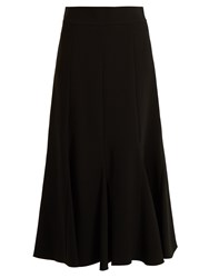 Chloe Pleated Crepe Midi Skirt Black