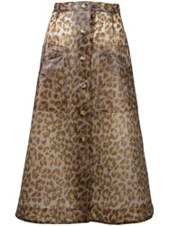 Christopher Kane Leopard Print Midi Skirt Brown