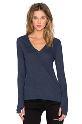 Lanston Deep V Thumbhole Top Navy
