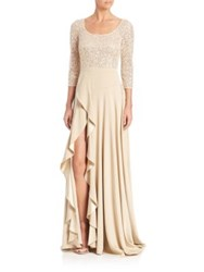 Kay Unger Sequined Lace Gown Champagne