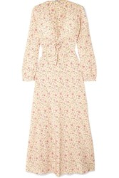 Miu Miu Floral Print Silk Crepe De Chine Dress Peach