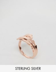 Lavish Alice Gold Plated Wrap Around Leaf Ring Rose Gold