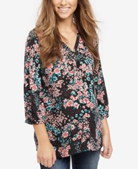 Motherhood Maternity Split Neck Tunic Black Ground Floral