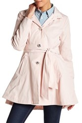 Betsey Johnson Tie Waist Fit And Flare Rain Coat Pink